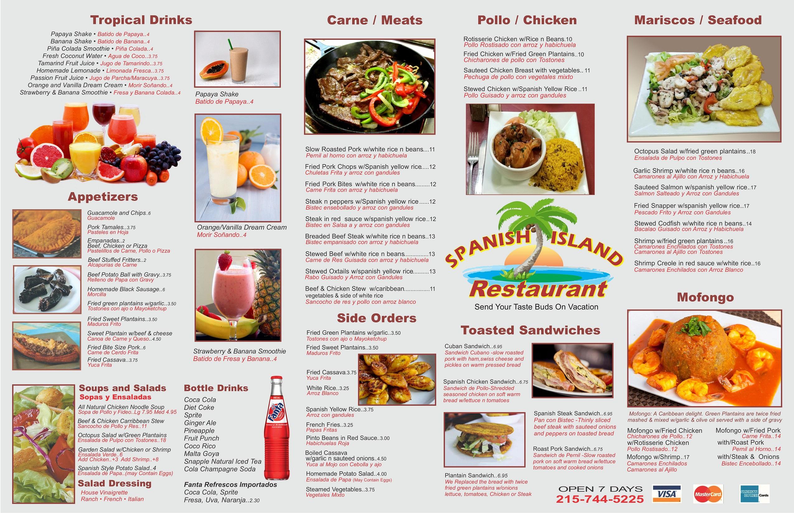 Spanish Island Restaurant - Table Menu